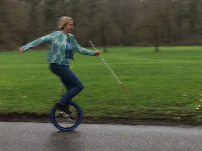 Dörte Maack on a unicycle
